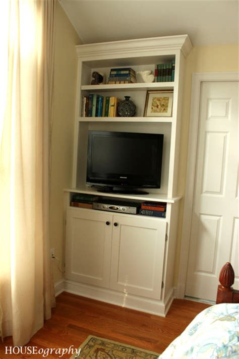tv built in built in bookshelves in our master bedroom tv with