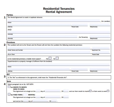 sle apartment rental agreement template 7 free