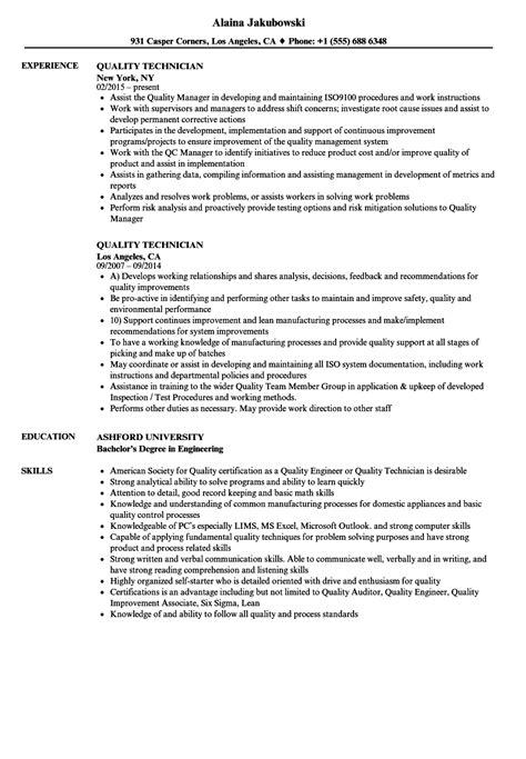 Quality Resume by Quality Technician Resume Sles Velvet
