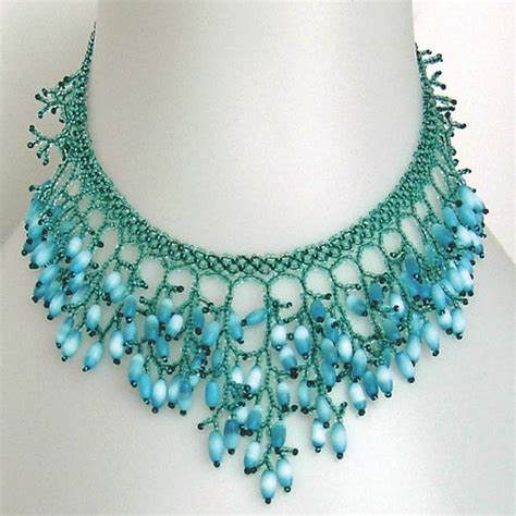 bead netting necklace pattern seed beaded necklace netting stitch detailed tutorial