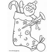 Christmas  Stocking With Gifts Coloring Page