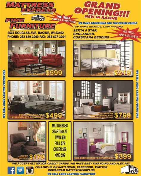 Furniture Stores Racine Wi by Mattress Express Plus Furniture In Racine Wi Relylocal