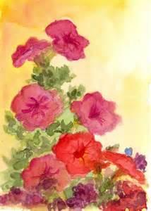Red petunias original watercolor flower painting floral art on