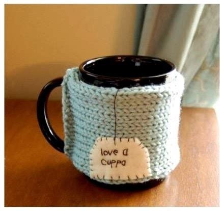 Custom Label Rajut Nthink gambar kerajinan tangan cover mug rajut 2