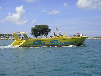 clearwater boat tours the world s largest speedboat sea screamer dolphin tours