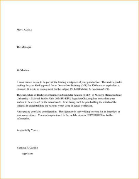 Cover Letter Letter Of Application Exles 12 Application Letter Format Basic Appication Letter