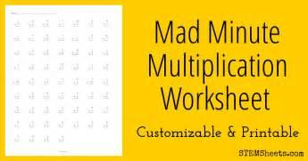 mad minute multiplication worksheet stem sheets