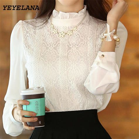 Chiffon Blouse Korea Import White Putih yeyelana 2017 new blouses korean style white shirts crochet lace