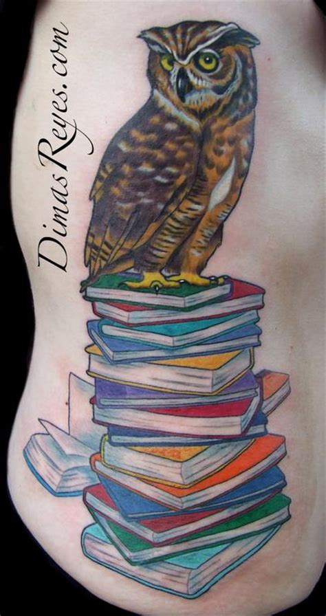 Tattoo Owl Books | color wise owl on books tattoo by dimas reyes tattoonow