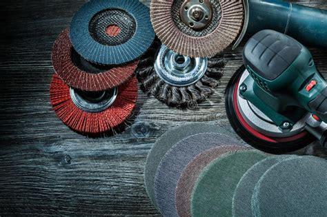 polishing discs  wooden board top view stock photo