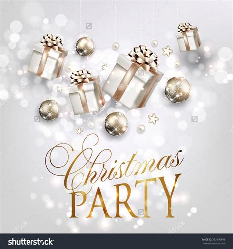 party title for christmas new year invitation with fir branch bow gift box and merry and happy