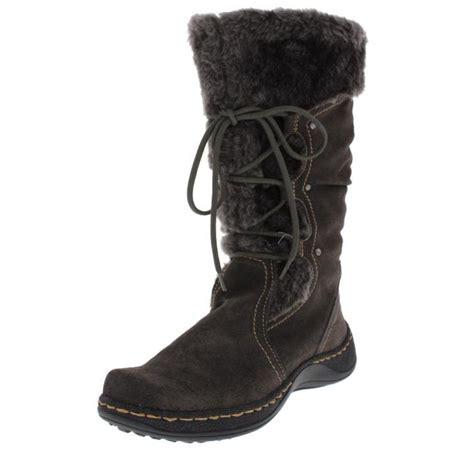 bare traps elicia gray suede faux fur mid calf snow boots