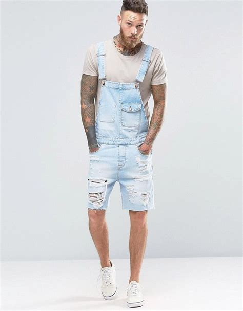 light blue overalls mens asos overalls in wash with rips s