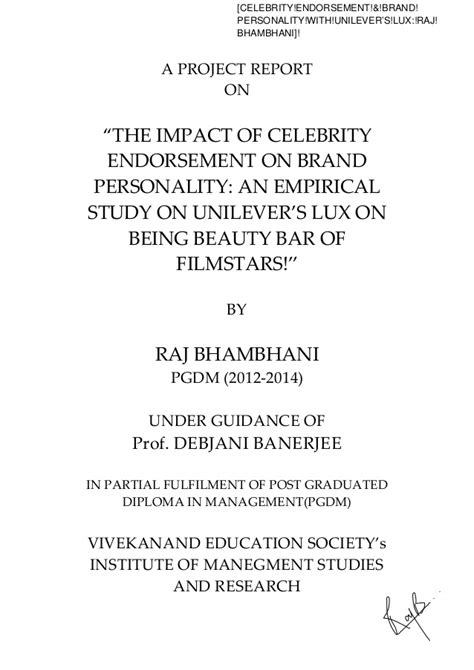 celebrity endorsement meaning quot a project report on the impact of celebrity endorsement