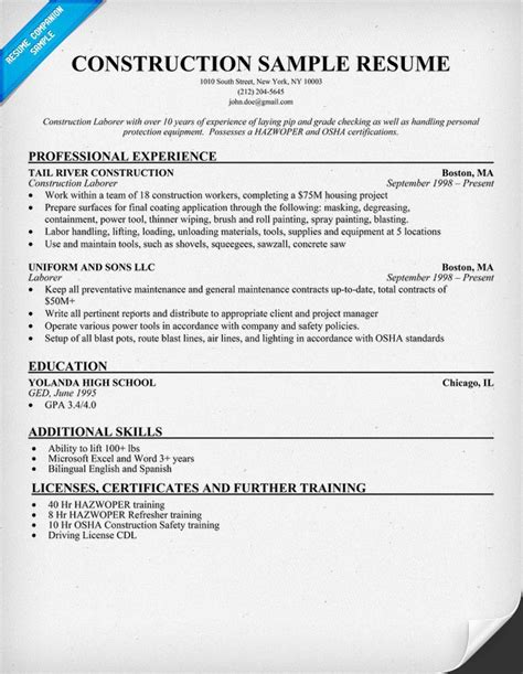 Resume Template For Construction Resume Sample Construction Resumes Pinterest Resume