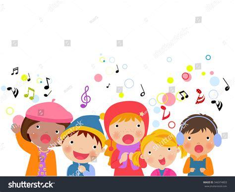 clipart bimbi of chorus singing songs vector