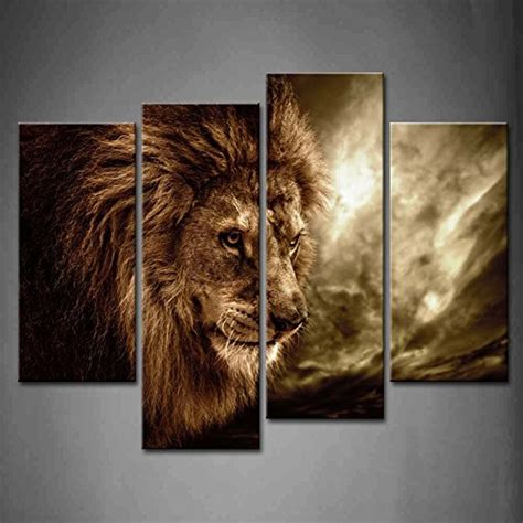 lion decor home 4 panel wall art brown fierce lion against stormy sky