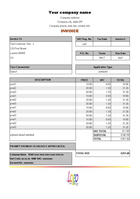 Credit Policy Template Uk Vat Service Invoice Form Free And Software Reviews Cnet