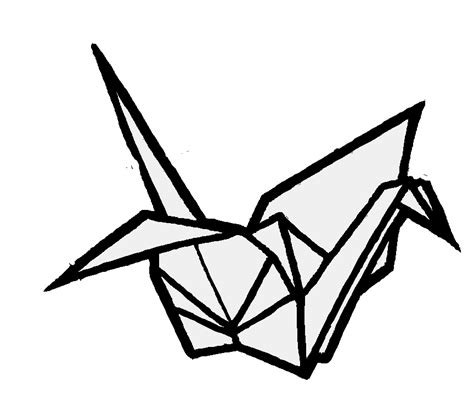 Origami Bird Drawing - origami crane by helenhappymeal