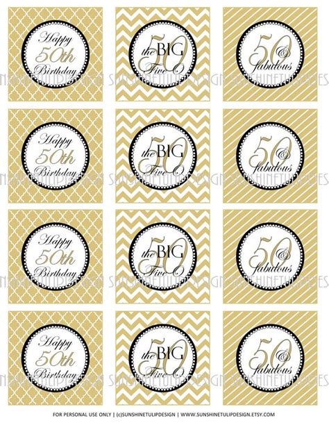 printable labels party favors printable 50th birthday cupcake toppers sticker labels