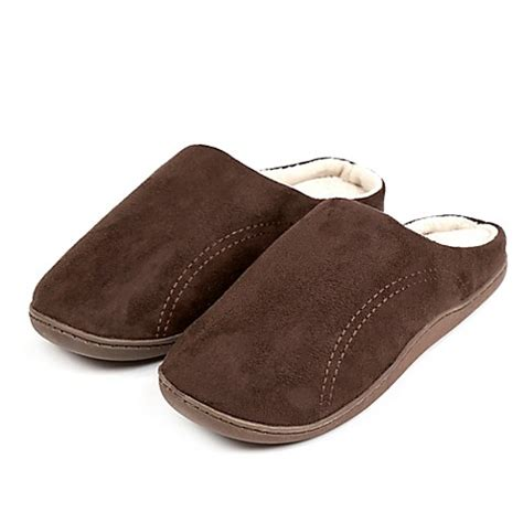 bed bath and beyond slippers buy men s medium memory foam slipper in chocolate from bed