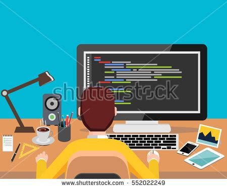 design banner computer person working on computer programming coding stock vector