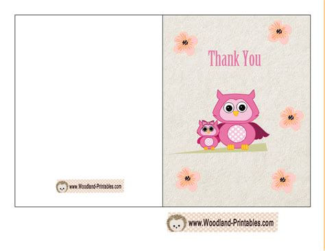 free printable thank you card templates free printable woodland baby shower thank you cards