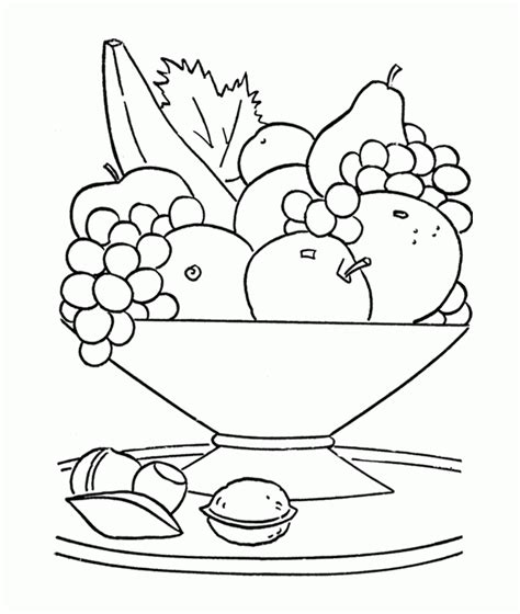 fresh fruit in the basket coloring home