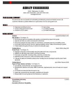 Food Runner Resume by Waiter Food Runner Resume Exle Phillips Seafood Pasadena Maryland