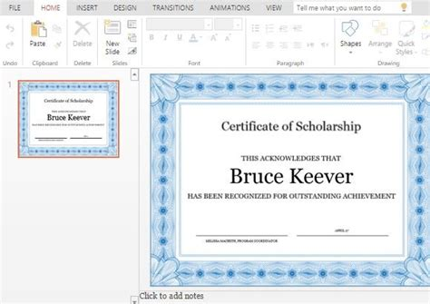Best Certificate Templates For Powerpoint Scholarship Presentation Template