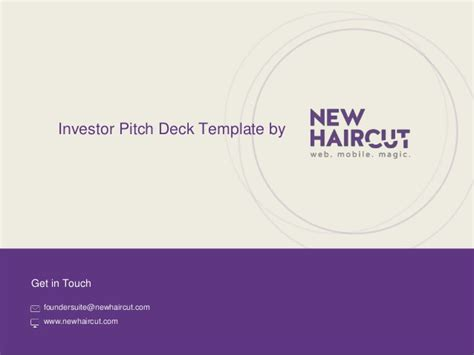 Investor Pitch Deck Template From New Haircut Investor Pitch Template