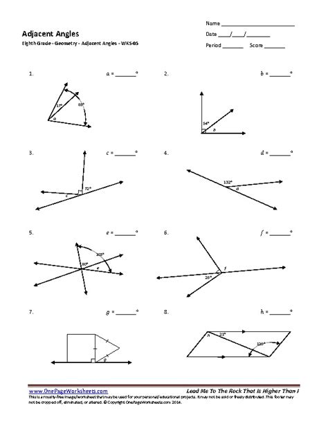 Adjacent Angles Worksheet by Eighth Grade Adjacent Angles Worksheet 05 One Page