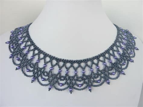 black necklace pattern free beading pattern for an elegant beaded lace necklace