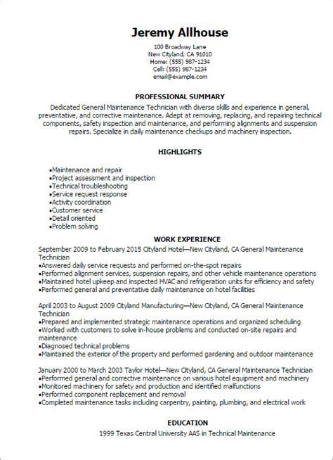 maintenance technician resume sles professional general maintenance technician templates to