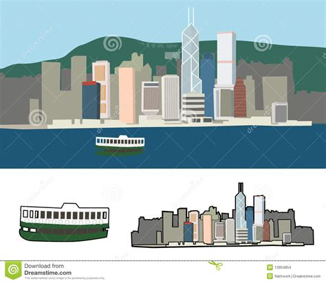 doodle 4 hong kong hong kong harbour stock vector image of china