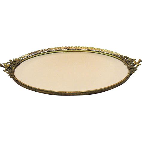 Mirror Tray vintage large vanity tray mirror with bird handles filigree metal from teesantiqueorchard on