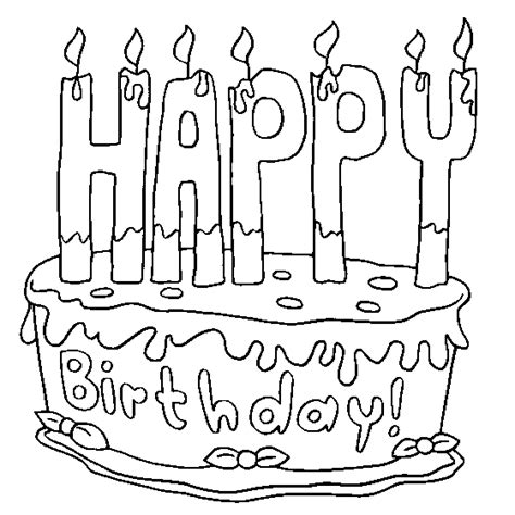 birthday coloring page colour drawing free wallpaper happy birthday cake for kid