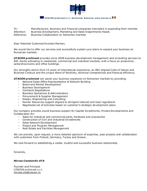 Utacon proInvest   Business Collaboration Letter