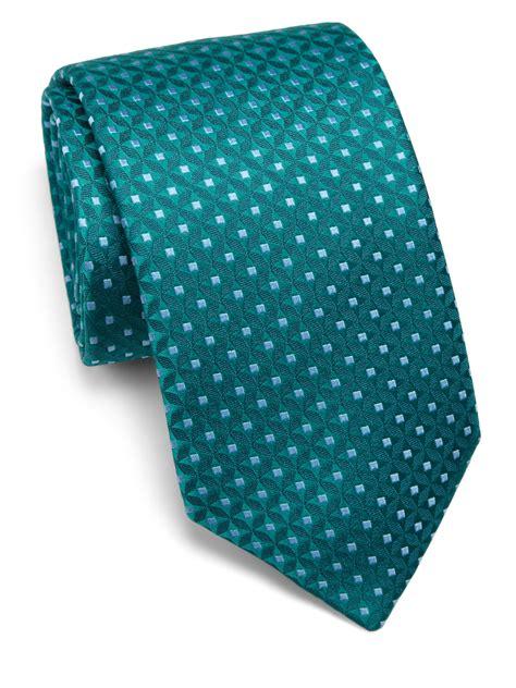 charvet dot print silk tie in teal for lyst