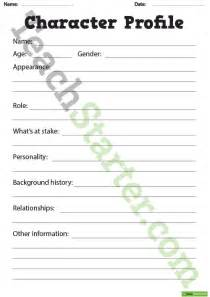 detailed description template detailed character profile worksheet teaching resource