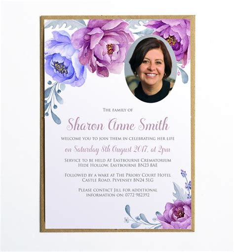 1 Year Memorial Flowers - funeral memorial announcement funeral invitation modern