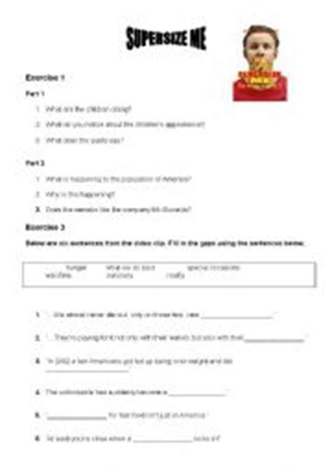 Supersize Me Worksheet Answers by Worksheets Size Me Worksheet Answers Opossumsoft