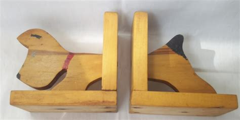 Handmade Bookends - vintage wooden scottie figural bookends handmade painted