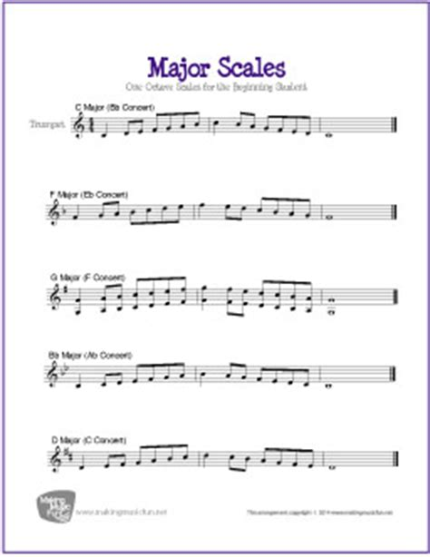 major scales for trumpet free sheet
