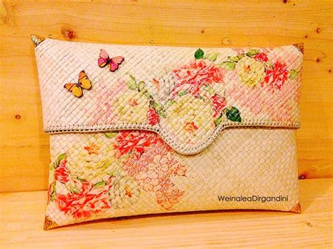 Clutch Pandan Pink decoupage and clutches on