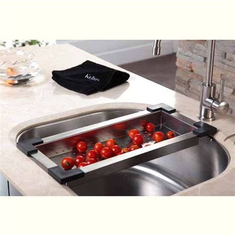 kitchen sink colander kraus stainless steel colander for kitchen sink stainless