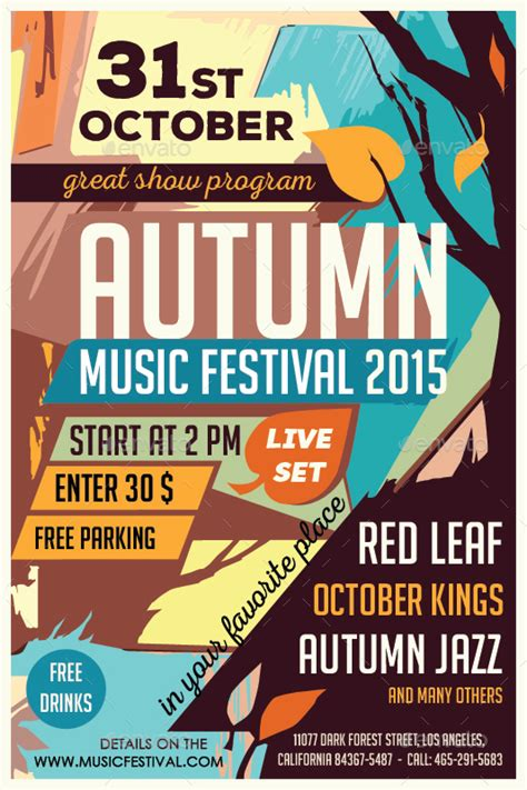 template flyer music autumn music festival flyer template by olgameola