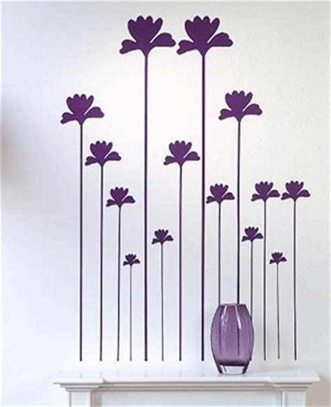 flower design on wall wall decorating pink and purple poppy