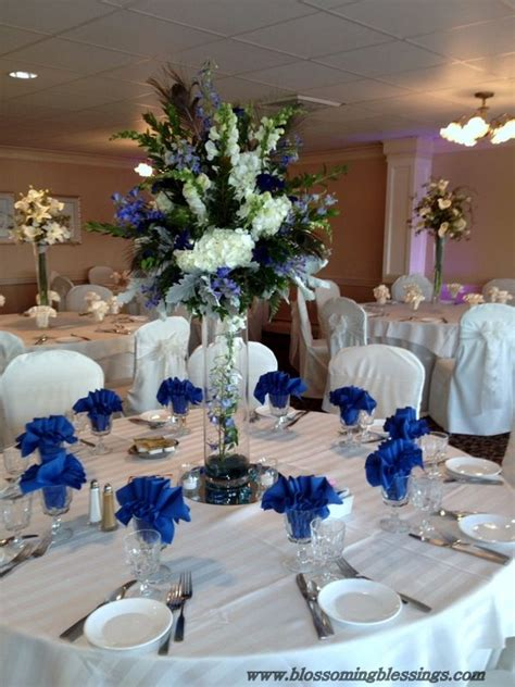 royal blue and white wedding centerpieces royal blue reception wedding flowers wedding decor