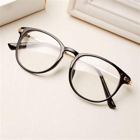 Kacamata Korean Vintage Classic Fashion Shape Frame Plain Glasses With Lens Brilliant Black metal frames oakley sunglasses and glasses on